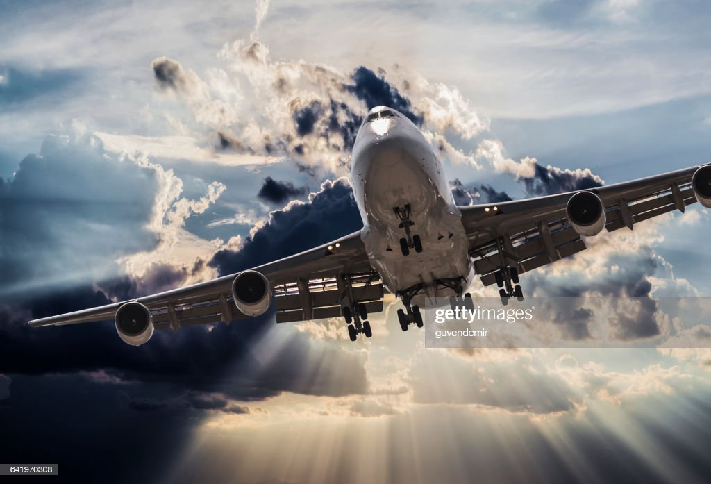 jumbo jet airplane landing in storm : Stock Photo