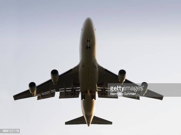 Jumbo Jet Boeing 747 viewed from below on landing approach, Frankfurt Airport, Frankfurt am Main, Hesse, Germany