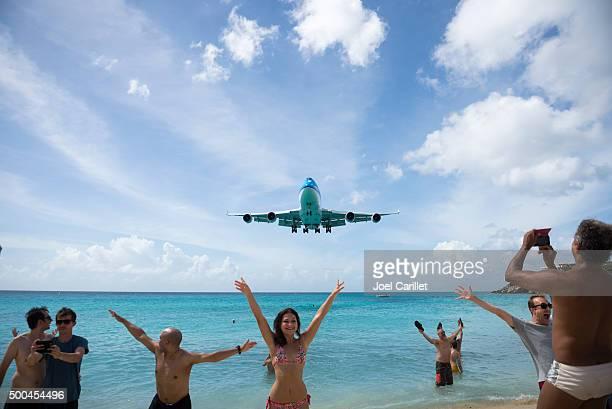 KLM jumbo jet landing at Maho Beach, St. Maarten