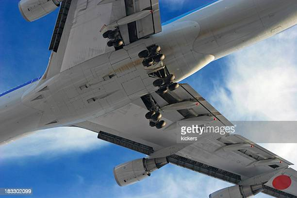 Jumbo jet plane from below on a cloudy day
