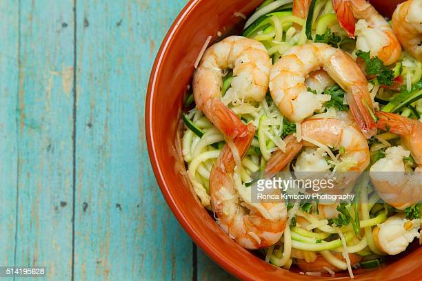 Jumbo Shrimp on top of Spiralized zucchini