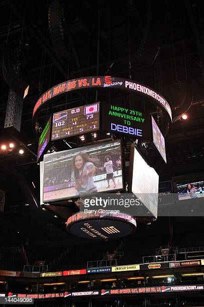 A jumbotron is seen during a preseason game between the Phoenix Mercury and the Japanese National Team on April 25 2012 at US Airways Center in...