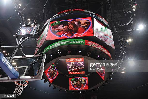 A jumbotron is seen during the game between the San Antonio Spurs and the Los Angeles Clippers in Game Three of the Western Conference Semifinals...