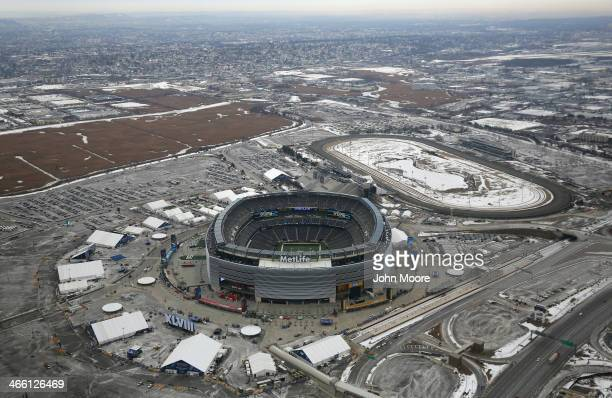 "Jumbotrons are tested at MetLife Stadium ahead of Super Bowl XLVIII on January 31, 2014 in East Rutherford, New Jersey. Helicopters flown by ""air..."