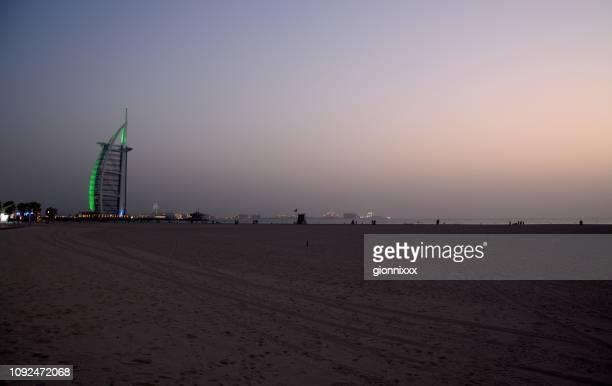 Jumeira beach at dusk, Dubai, UAE