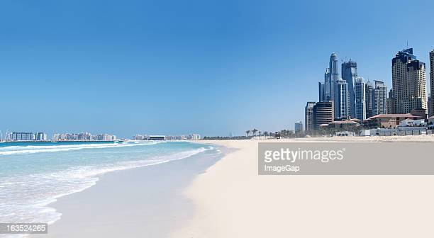 jumeirah beach and cityscape - jumeirah stock pictures, royalty-free photos & images