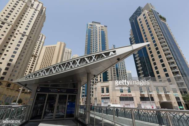 jumeirah beach residence 2 tram station - tram stock pictures, royalty-free photos & images