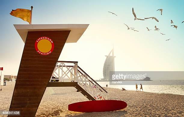 Jumeirah beach with lifeguard hut in Dubai