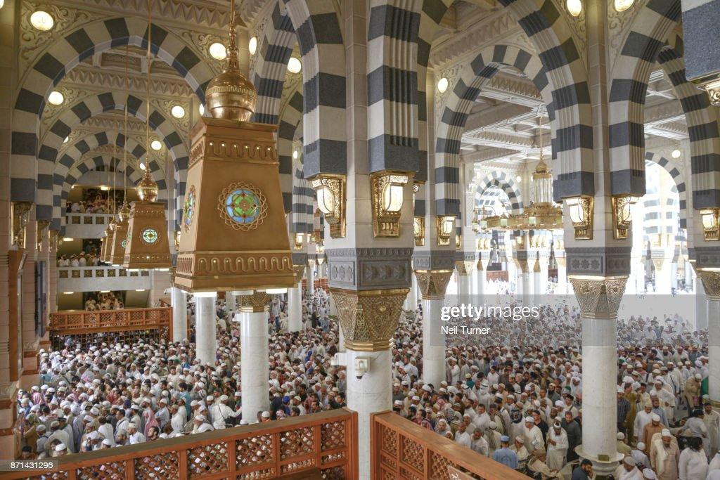 Jummah At The Prophets Mosque Medina Saudi Arabia Stock