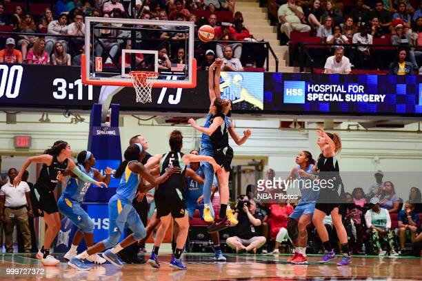 Jump ball between Gabby Williams of the Chicago Sky and Rebecca Allen of the New York Liberty on July 15 2018 at Westchester County Center in White...