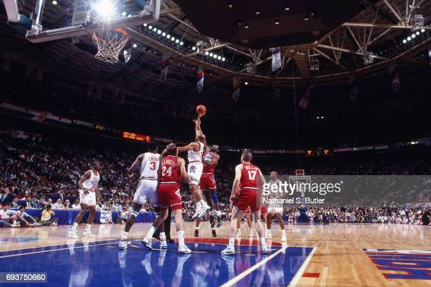 A jump ball during the 1991 NBA AllStar Game on February 10 1991 at the Charlotte Coliseum in Charlotte North Carolina NOTE TO USER User expressly...