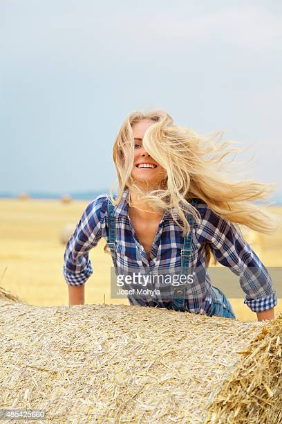 Jump on the bale of straw