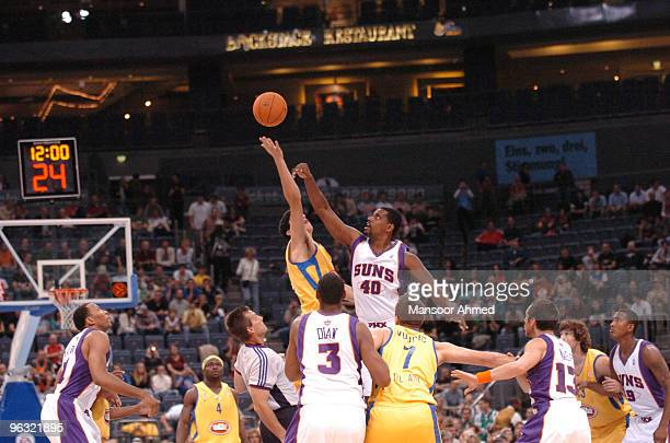 A jump starts the game between the Phoenix Suns and Macabbi Tel Aviv at the NBA Europe Live Tour presented by EA Sports on October 11 2006 at the...