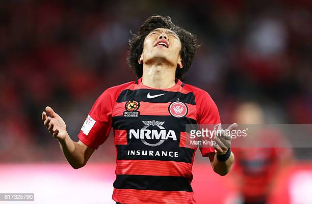 Jumpei Kusukami of the Wanderers reacts after a missed opportunity on goal during the round three ALeague match between the Western Sydney Wanderers...