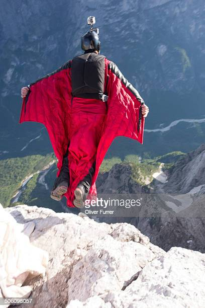 BASE jumper exited from a cliff