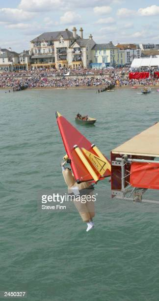 A jumper takes part in the annual Bognor Birdman jump August 31 2003 at Bognor Regis Sussex