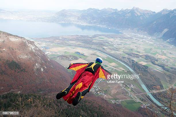 Jumper within a Wingsuit exited from a cliff