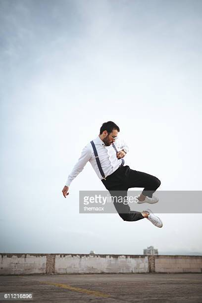 Jumping adult man
