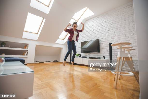 jumping and having fun - tv housewife stock photos and pictures