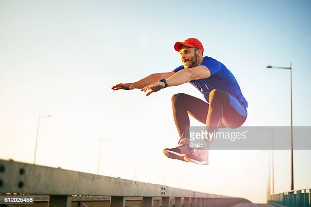 Jumping and practicing parkour