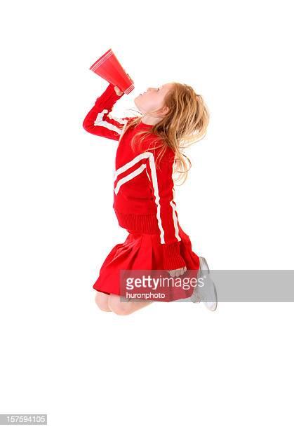 jumping and shouting cheerleader