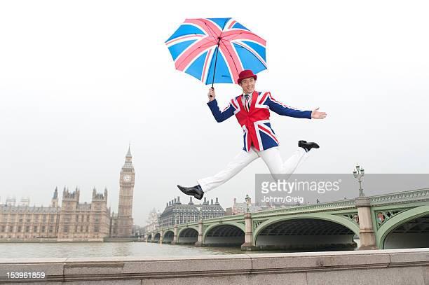 Jumping British Dandy in London