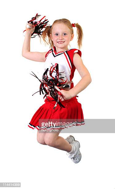 jumping cheerleader - cheerleader up skirt stock photos and pictures