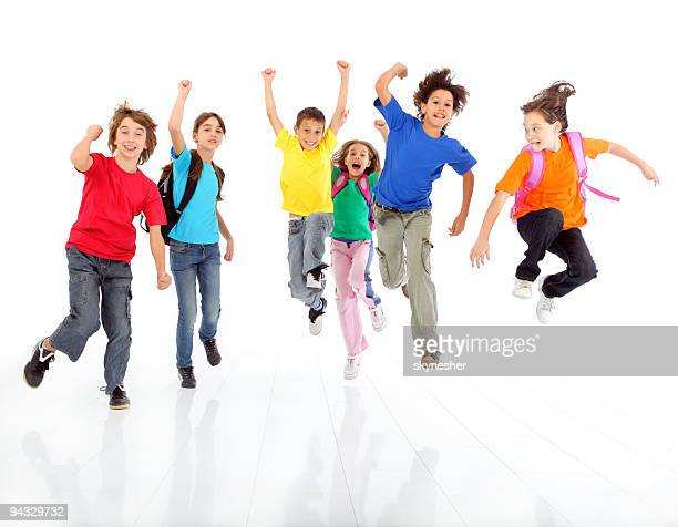 Jumping children, dressed colorful.