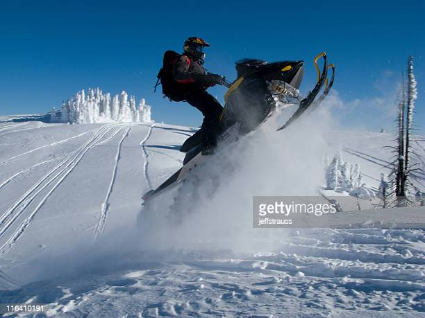 jumping extreme snowmobile