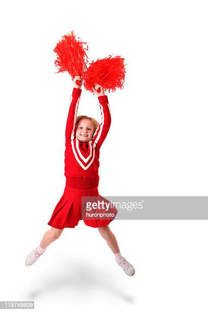jumping girl cheerleader - cheerleader up skirt stock photos and pictures