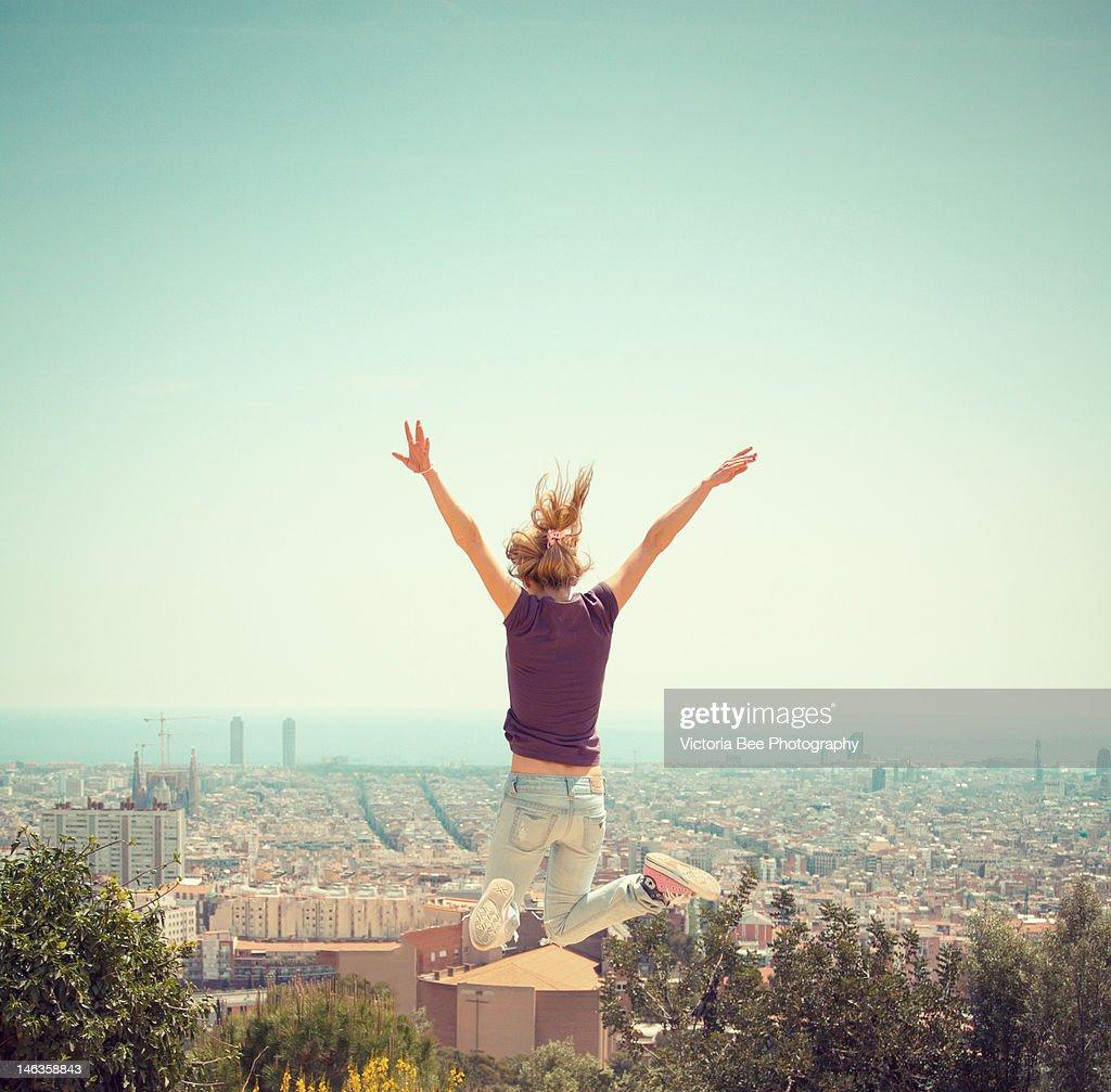 Jumping girl : Stock Photo