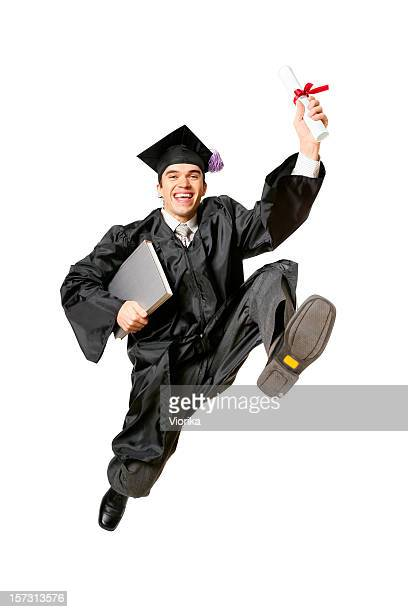 jumping graduate (with clipping path) - alumni stock pictures, royalty-free photos & images