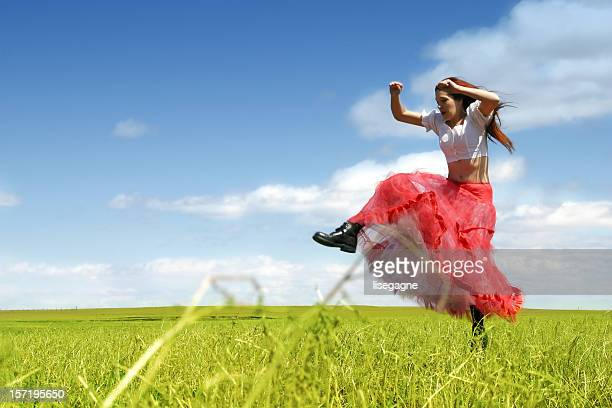 Jumping in the meadow
