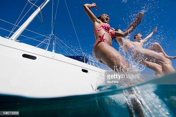 Jumping into sea