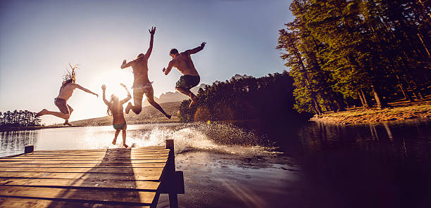Jumping Into The Water From A Jetty Wall Art
