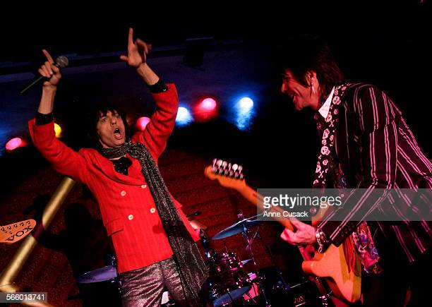 L to R Todd Loweth as Mick and Young Hutchinson as Keith Richards square off with a Beatles's tribute band Abbey Road at Brixton South Bay in Redondo...