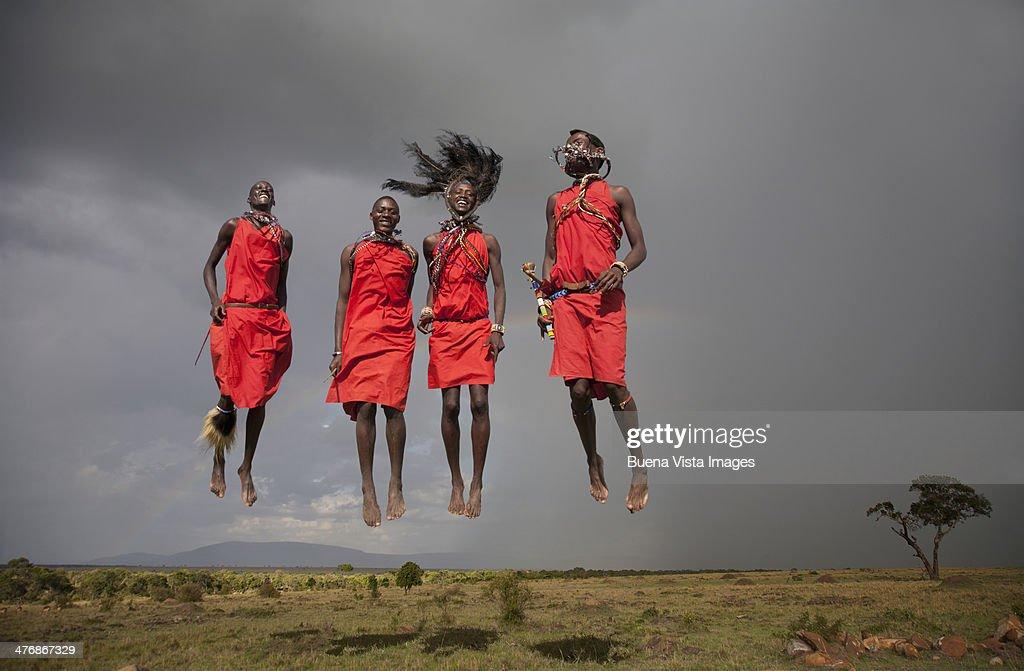 Jumping Masai men. : Stock Photo