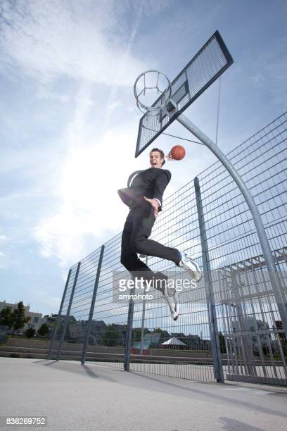 jumping on basketball court
