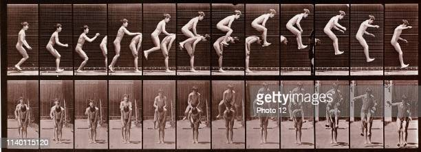 Jumping over Boy's Back part of the Animal Locomotion series of photographs by Eadweard Muybridge 1887