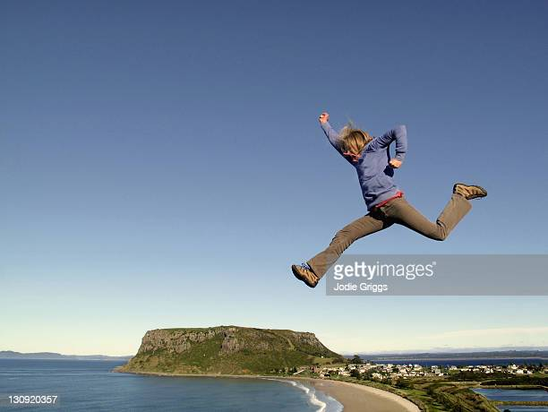 Jumping over 'The Nut' Stanley, Tasmania