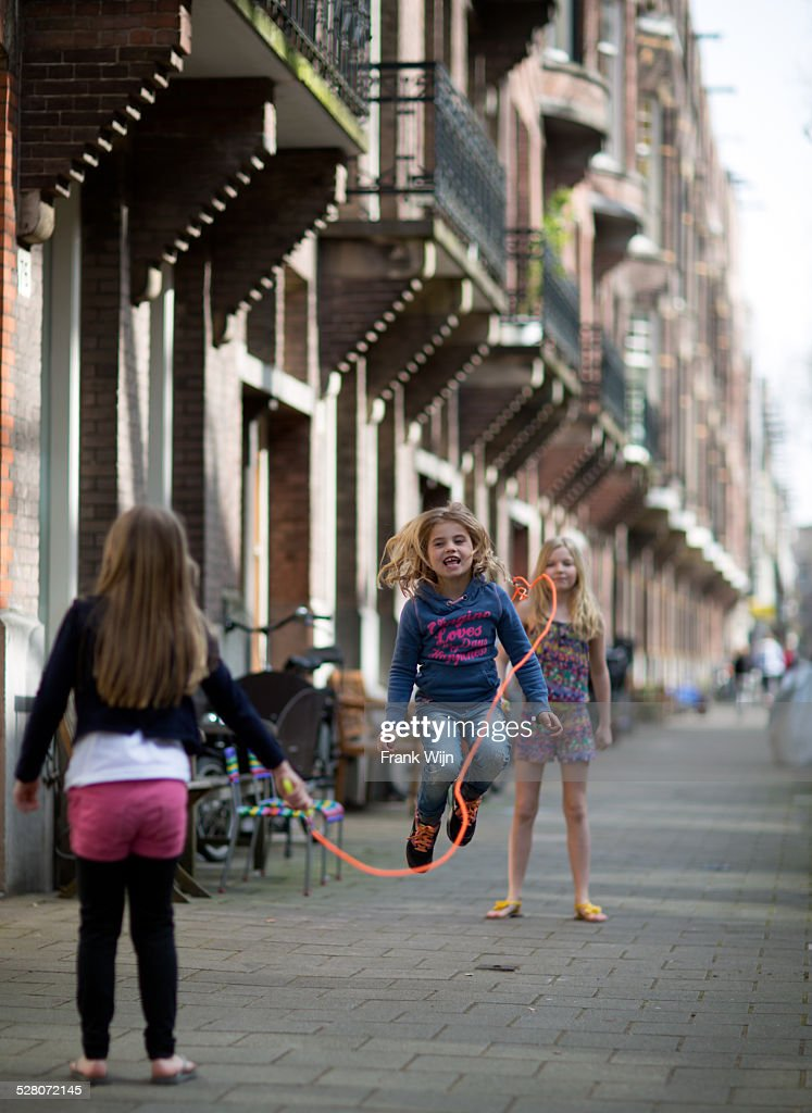Jumping rope in Amsterdam : Stock Photo