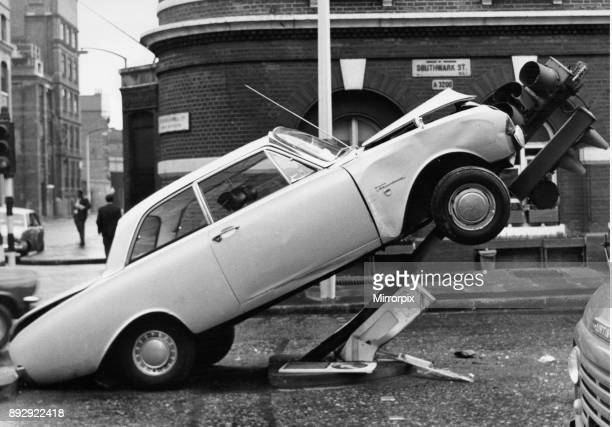 Jumping the lights A Ford Taunus ended up in an unusual position after a collision with a set of traffic light in Southwark Street at the junction of...