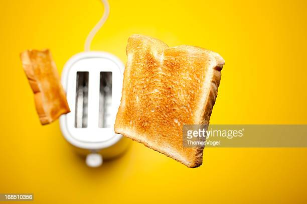 jumping toast bread - bread stock pictures, royalty-free photos & images