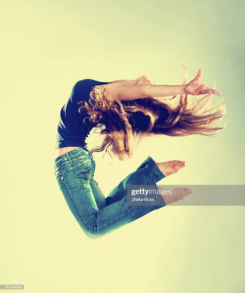 Jumping Woman : Stock Photo