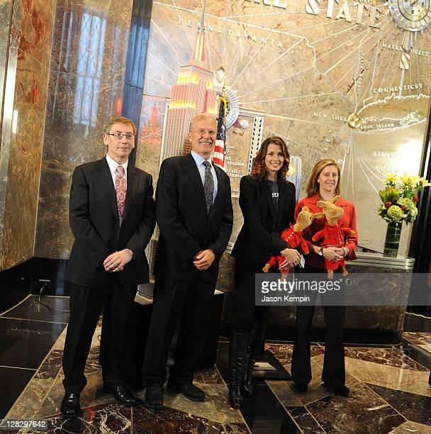 Jumpstart COO Paul Leech, Chairman of U.S. Higher Education for Pearson Bill Barke, actress Bridget Moynahan and author Anna Dewdney attend the...