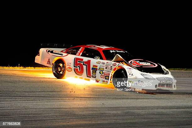 Stephen Nasse Ford Fusion damaged after turn four contact in the Watermelon 100 American Speed Association RC Cola/MoonPie Southeast Asphalt Tour...