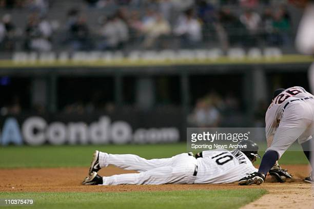 Jun 07 2006 Chicago IL USA Detroit Tigers Chris Shelton against Chicago White Sox Rob Mackowiak pick off in Chicago at US Cellular Field The White...