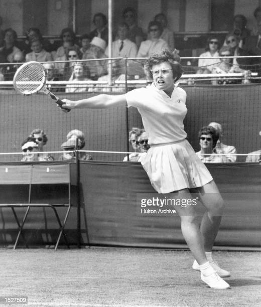 American Tennis player Billie-Jean Moffitt in play during her match with the German girl M. Schact at the Beckenham tennis championships. Mandatory...