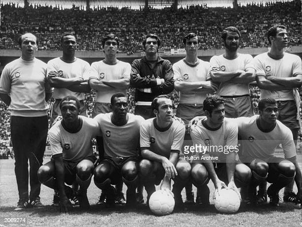 The Brazilian World Cup team pose for a team photo during the FIFA World Cup Tournament in 1970 held in Mexico