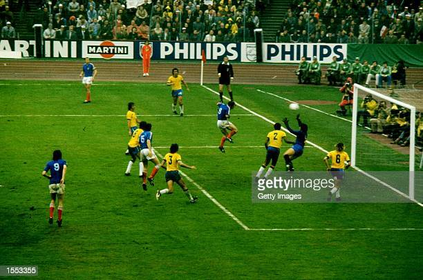 General view of goalmouth action during the 1974 World Cup match between Brazil and Yugoslavia played at the Waldstadion in Frankfurt West Germany...